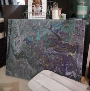 Marbled canvas painting in blues